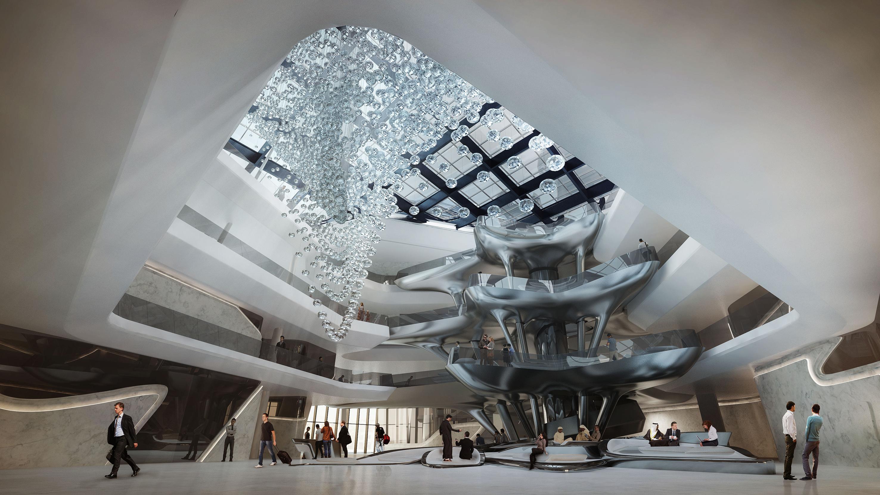 Футуристический интерьер холла гостиницы в Дубае