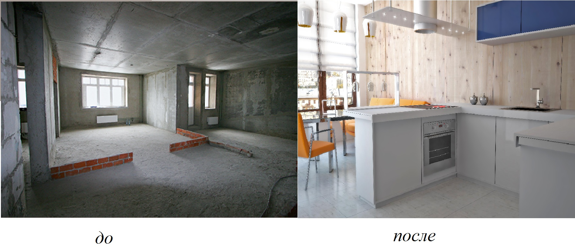 Вид квартиры с черновой отделкой до и после ремонта