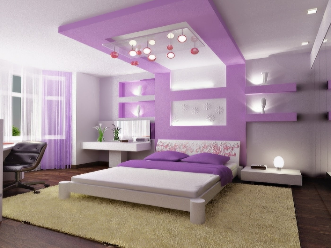 Вариант акцентирования стены в спальне