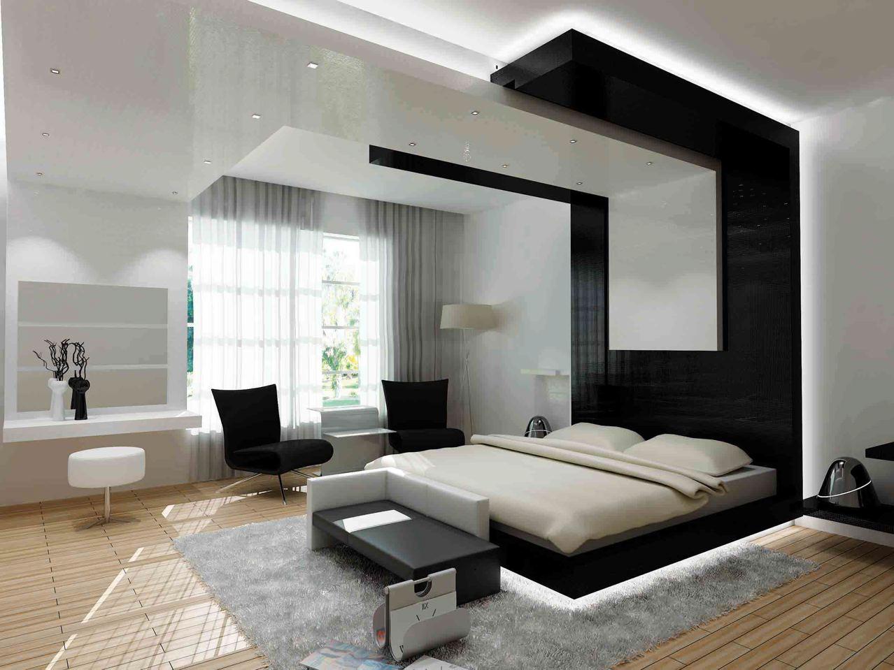Способ выделить прикроватную зону и визуально уменьшить высоту потолка