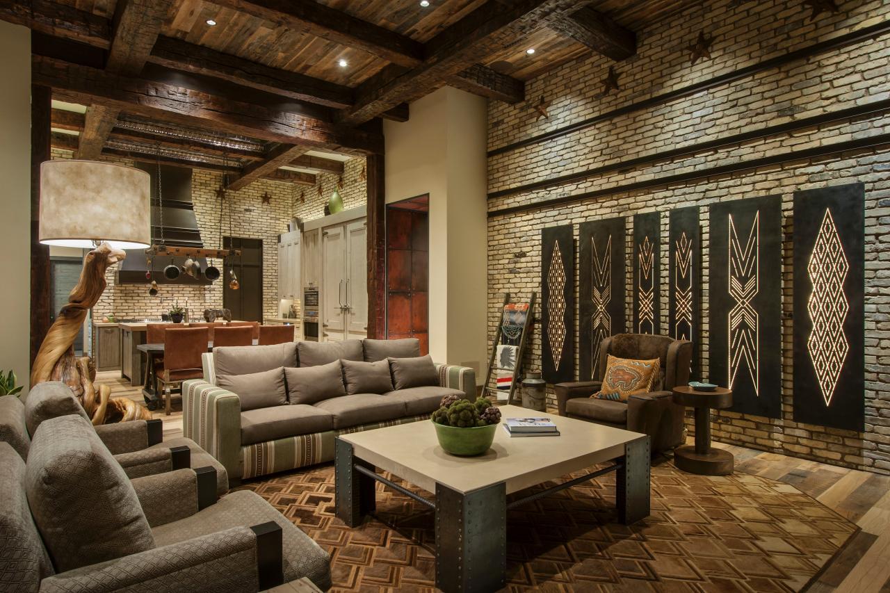 Деревянные балки на потолке в общем стиле интерьера рустик