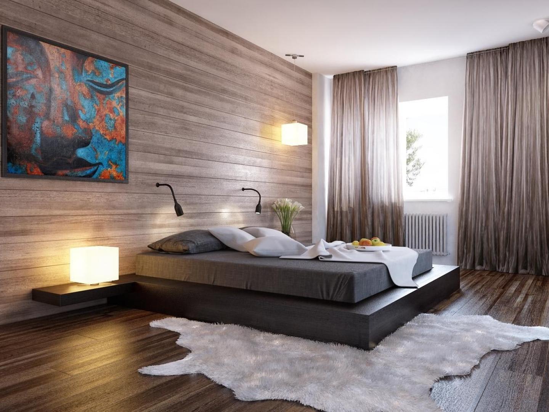 Отделка стен деревянными панелями делает спальню модерновой и стильной