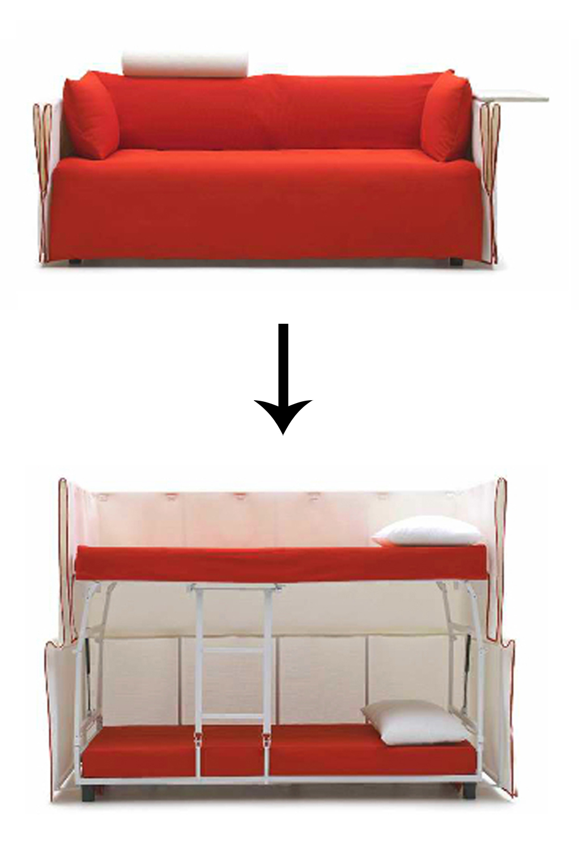 Диван трансформируется в 2 отдельных спальных места