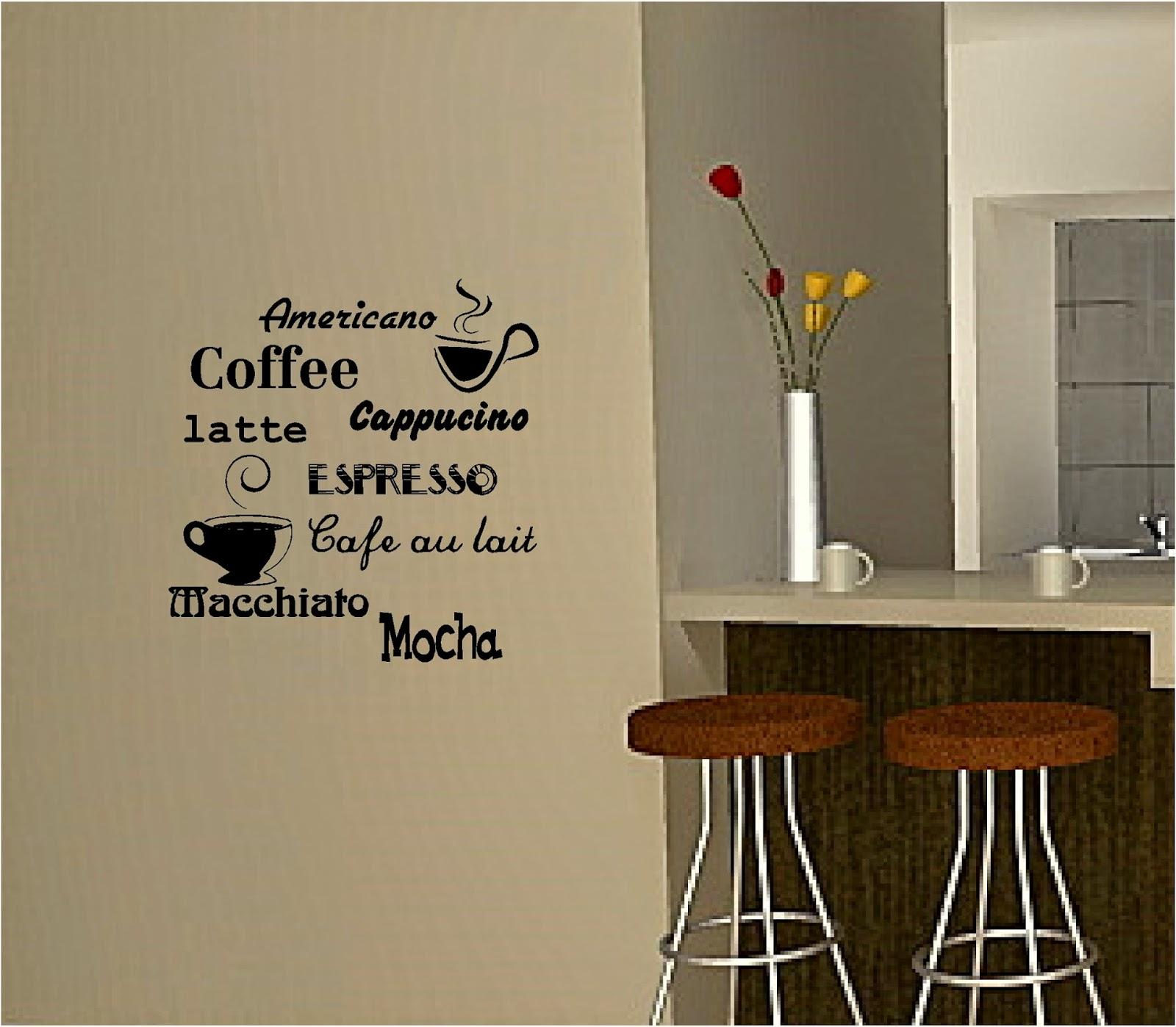Тематические надписи на стене в кухне