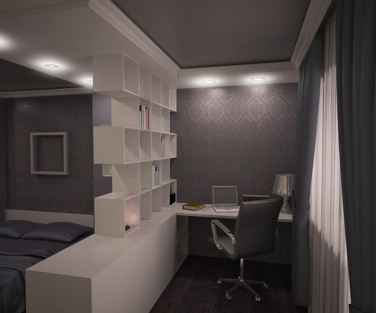 Отделение рабочей и спальной зоны в комнате при помощи перегородки