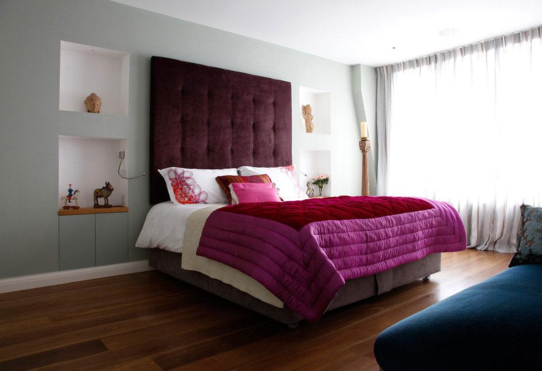 Мягкая стена или спинка кровати - придает модерновой спальне уют