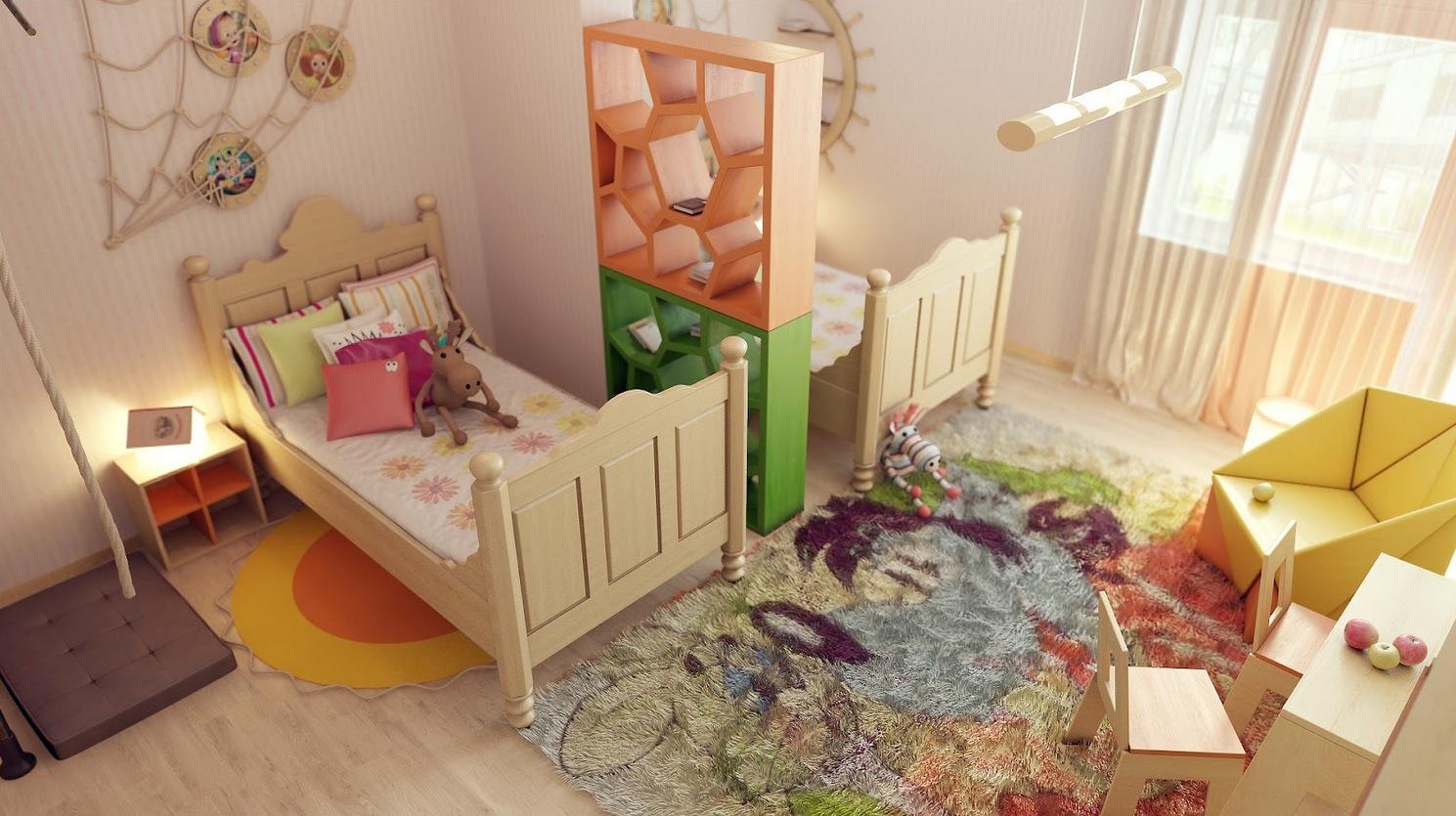 Небольшая, красочная, сквозная перегородка не только отграничит разные зоны в комнате, но и пригодится для складывания книг
