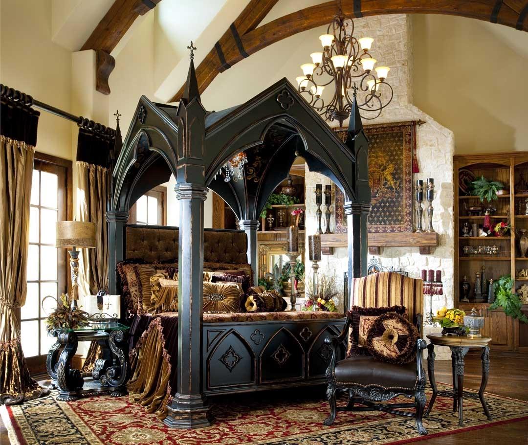 Оформление спальной комнаты в средневековом стиле