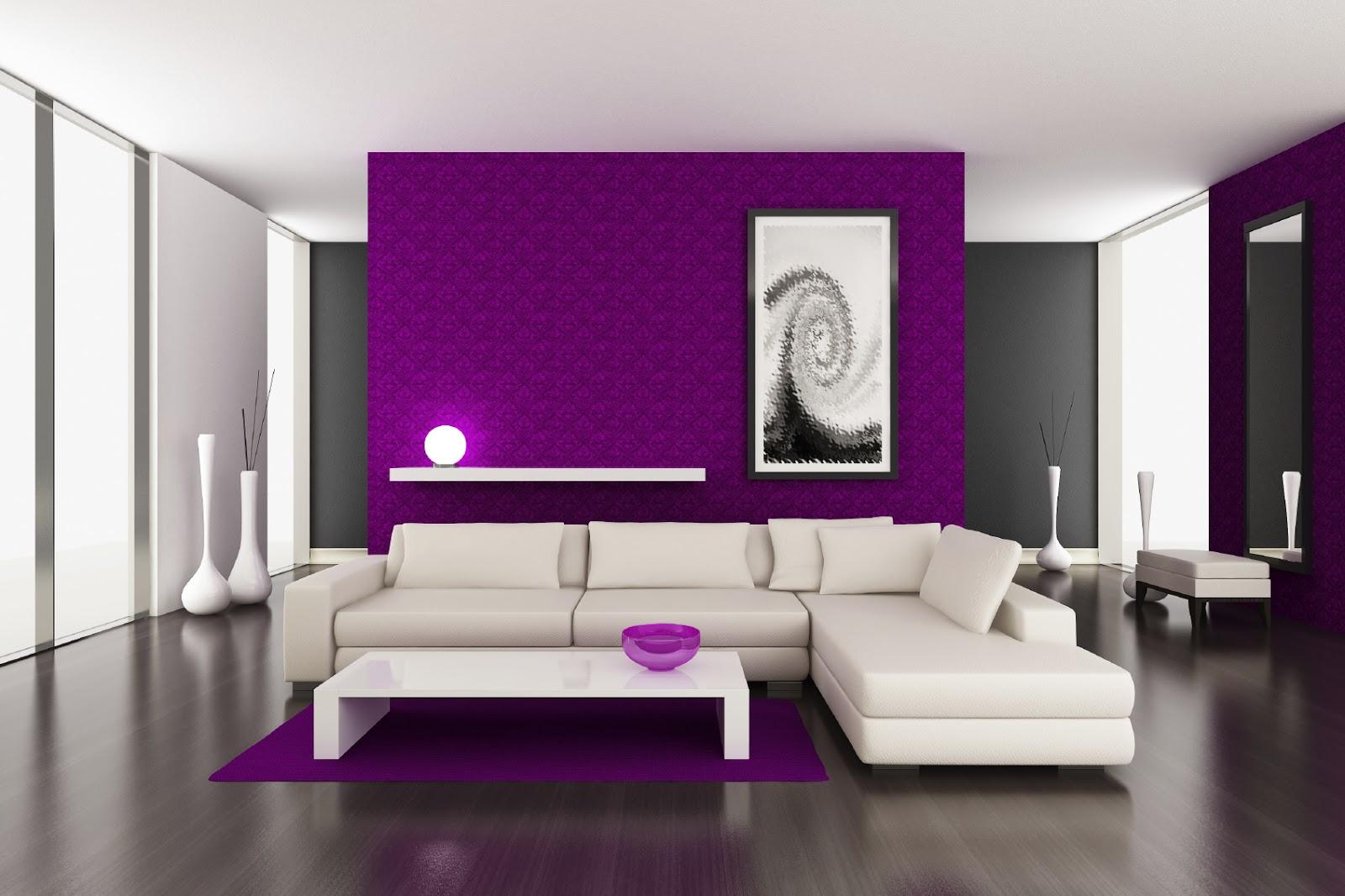 Выделение перегородки в комнате при помощи ярких обоев - популярный вариант отделки в стиле минимализм