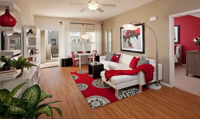 Дизайн гостиной красно-белая