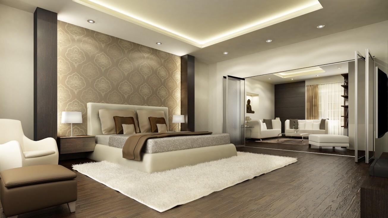 Модерн в спальне - это светлые, природные оттенки и материалы