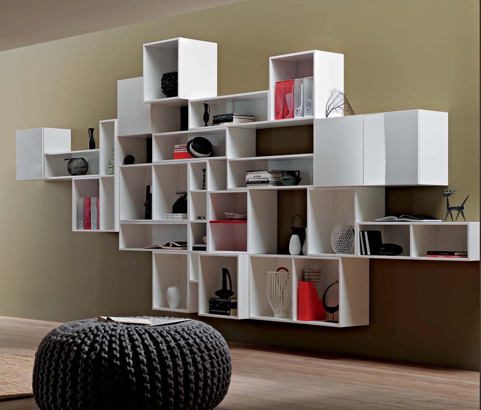 Полки-модули для современной гостиной
