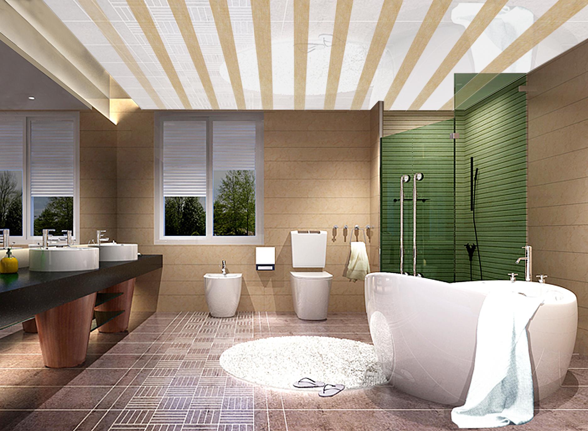 Ванная с потолком из пластиковых панелей может смотреться роскошно