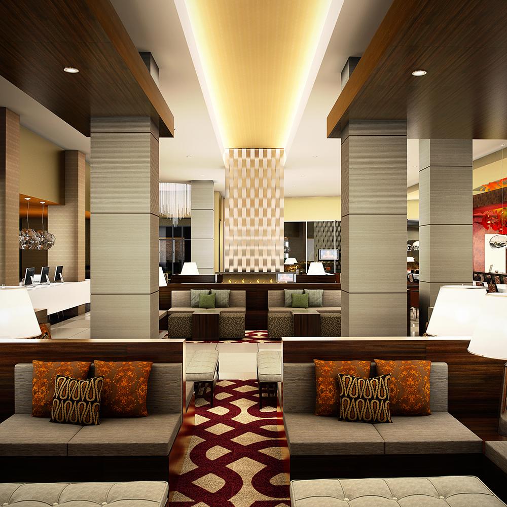 Модерновый интерьер холла в отеле