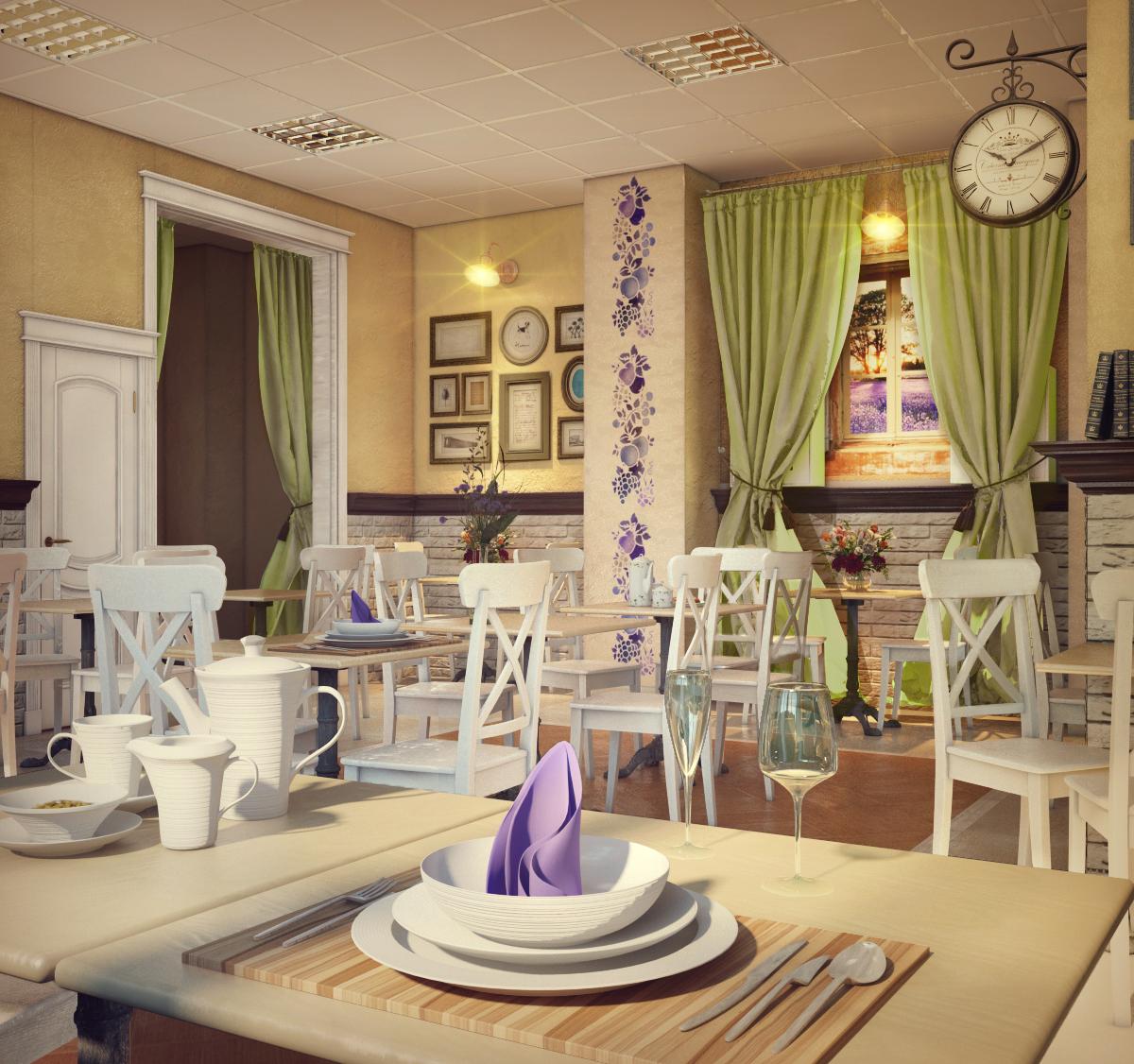 Удачное цветовое решение для оформления кафе в стиле прованс