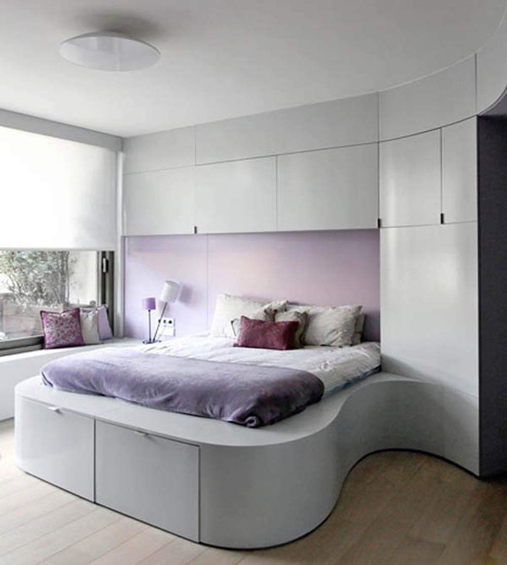 Спальня в стиле модерн может быть небольшой и вместе с тем компактной