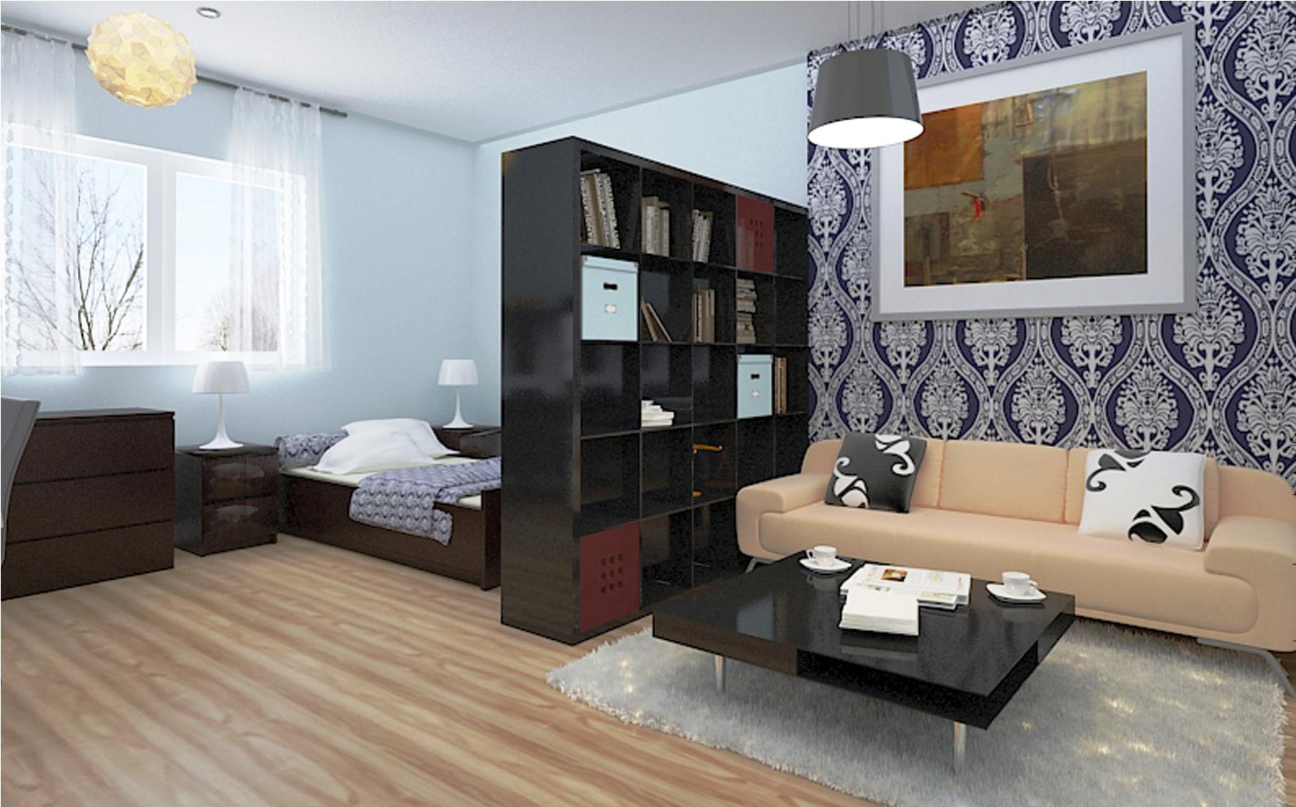Зонировать небольшую квартиру студию можно по-разному