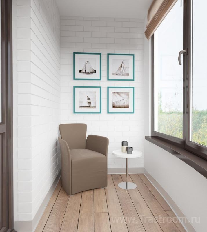 Дизайн балкона с белым кирпичом фото