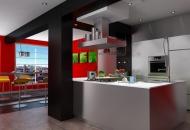 фото кухни цвет бело-красный цвет