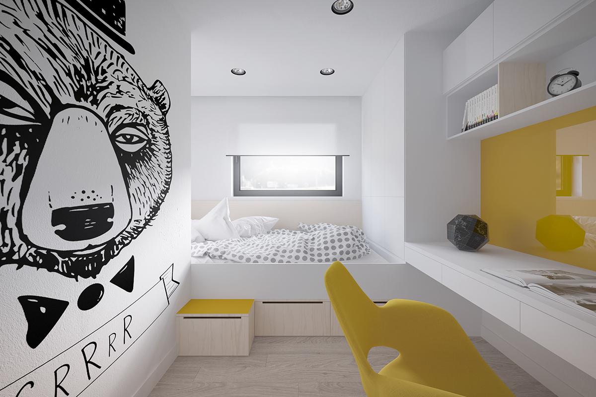 Броский декор стены, яркие детали в комнате девочки-подростка