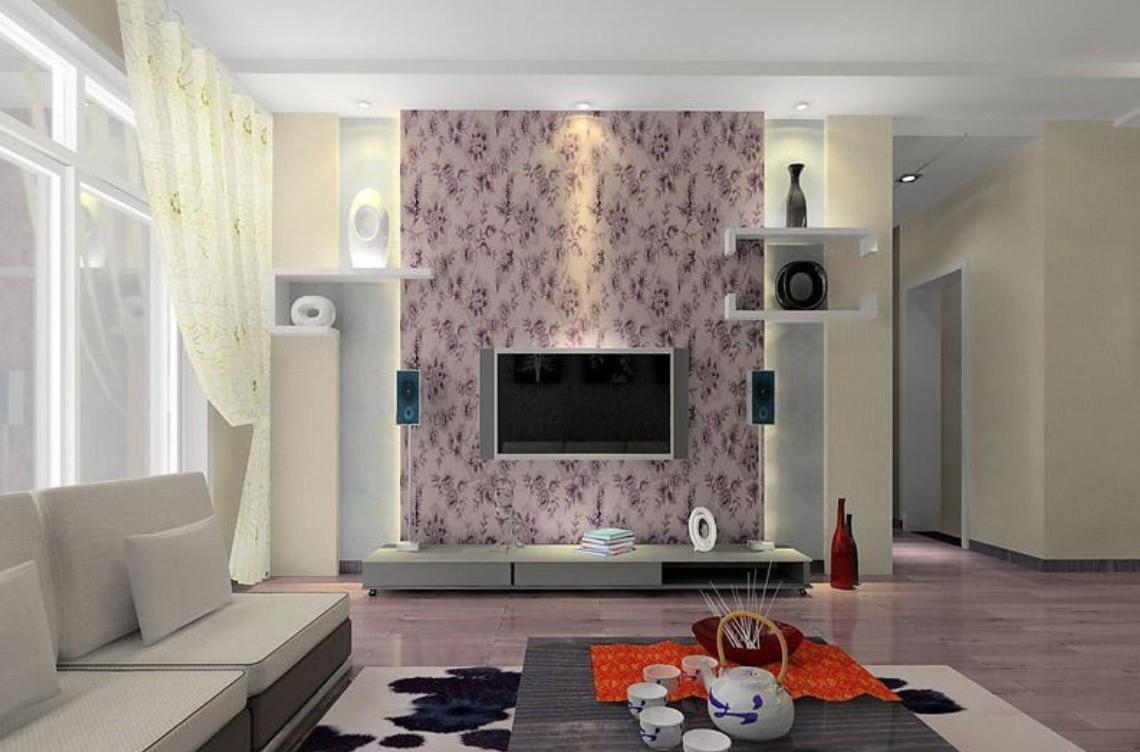 При помощи обоев можно расставить правильные акценты в интерьере гостиной